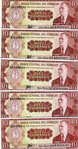 LOT-Paraguay-5-x-10-Guaranies-L-1952-P-196-196b-UNC