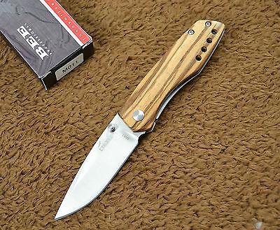 Enlan Bee M011 Folding Knife Wood Handle Liner Lock w/ Clip