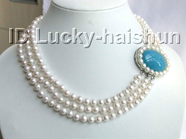Genuine! 3row round white freshwater pearls necklace j2891