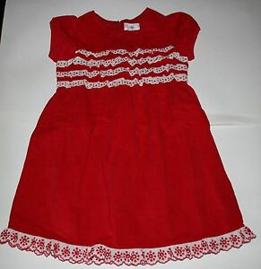 New hanna andersson holiday party dress red corduroy ruffle front size