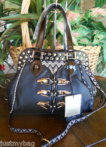 New-039-Nicole-Lee-039-SADONA-Cinched-Chevron-Satchel-Bag-Black