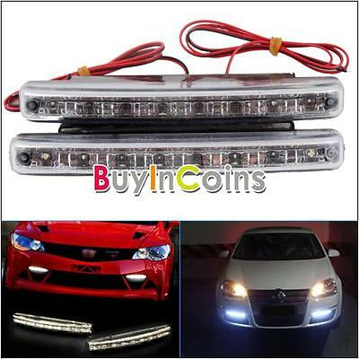 Bright Car DC 12V Daytime Running Light 8 LED DRL Daylight Tool Head Lamp White