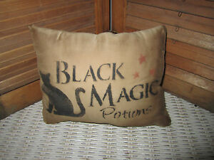 Primitive-Stenciled-Pillow-Halloween-Black-Magic-Potion-Thymeless-Treasures