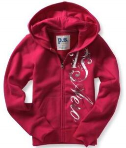 PS Aeropostale Girls Bling Zip Up Pink Fleece Sweatshirt ...