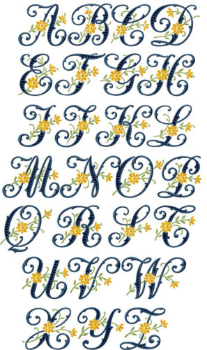 """ABC Designs Floral Cutwork Machine Embroidery Font for 5/""""x7/"""" hoop in 2 sizes"""