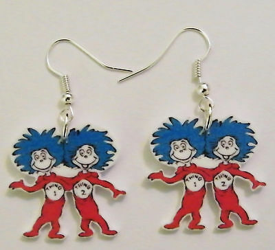 Thing 1 and Thing 2 Earrings- Dr. Seuss Cat In The Hat