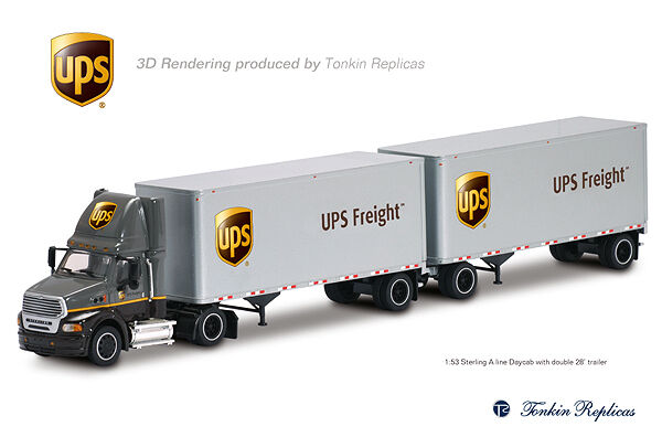 TONKIN UPS FREIGHT STERLING DAY CAB WITH DOUBLE 28' PUPS 1 53