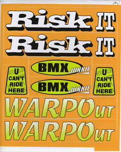 BMX BIKE BICYCLE STICKERS DECALS TRANSFERS  SET OF 8  RISK IT WARPOUT - <span itemprop=availableAtOrFrom>High Wycombe, United Kingdom</span> - Returns accepted Most purchases from business sellers are protected by the Consumer Contract Regulations 2013 which give you the right to cancel the purchase within 14 days after the - High Wycombe, United Kingdom