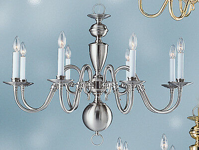 Williamsburg chandelier 8 lights Brushed Nickel color brass 8143BN lamp