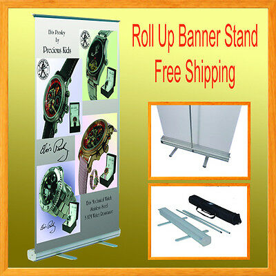 """1 Set Retractable Roll Up Banner Stand Trade Show 32"""" x 78"""" Free Shipping"""