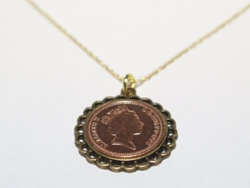 18in Gold Plated Sterling Silver chain 7th Copper wedding anniversary pendant