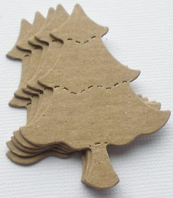 {6} MINI CHRISTMAS TREE -  Bare Unfinished Chipboard Die Cuts