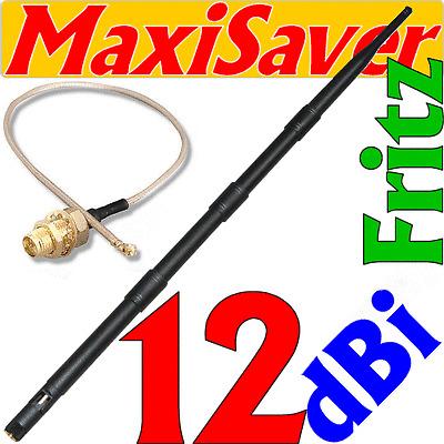 SET->> 12dBi Antenne RP-SMA + Pigtail U.FL Umbau Umbausatz Wlan Fritz!Box 3030