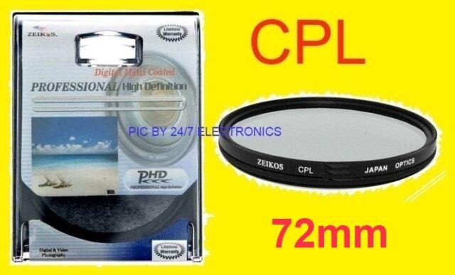 72mm CPL 72 mm PL POLARIZED FILTER SONY HDR-FX1 HVR-Z1U DSC-HX1 HX100 H7 H9 H50
