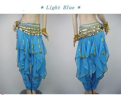 Golden-Edge Belly Dance Harem Pants Costume Light Blue