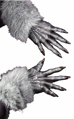 MENS WEREWOLF WOLF FURRY GREY GLOVES HANDS FANCY DRESS HALLOWEEN COSTUME NEW