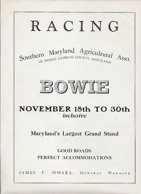 1929 Bowie Horse Racing Race Track Ad/ Bowie MD