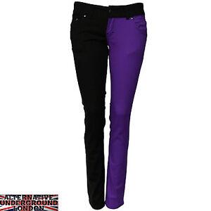 SKINNY-STRETCH-JEANS-BLACK-AND-PURPLE-SPLIT-LEG-PANTS-PUNK-GLAM-DISCO-HARLEQUIN