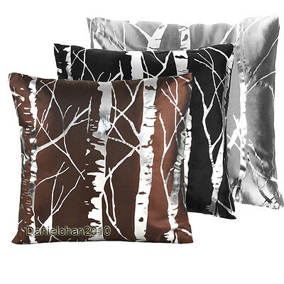 1PC*Damask Branches Silver Foil Stamping Decor Throw Pillow Cushion Covers BR001