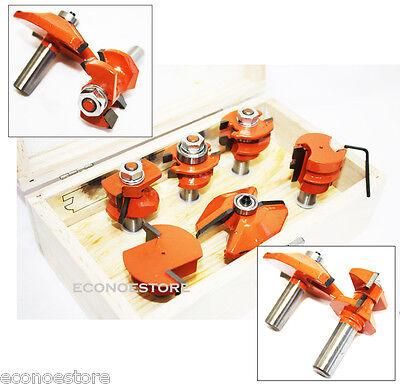 "6pc Wood Case sharper tool Carbide Router Bit Set Tipped Kitchen Door 1/2"" Shank"