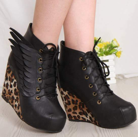 New Leopard Angel Wings Sexy Wedge Heels Platform Round Toe Womens Boots Shoes