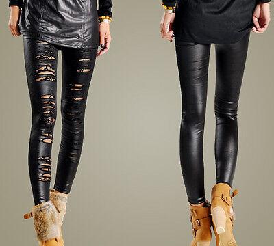 Sexy Women Ripped Tron Lace Cutout Stretch Legging Pants Slash Footless