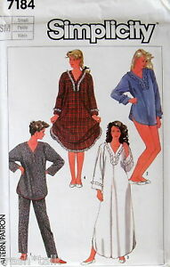 Vtg-80s-nightshirt-nightgown-pattern-sz-SMALL-10-12-PJ
