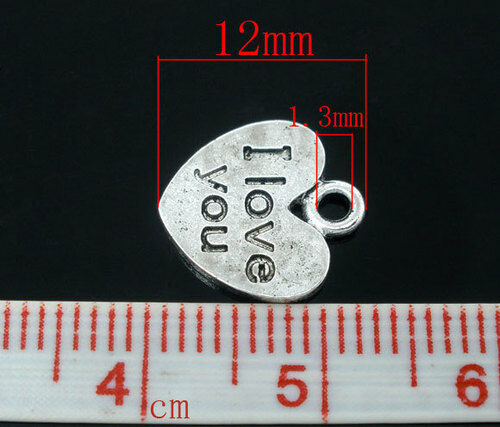 20 X Silver Tone Heart /'I love You/' Charms//Pendants