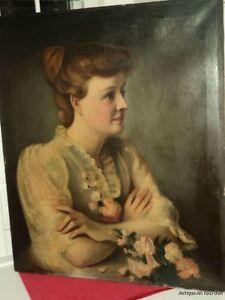 ANTIQUE-Victorian-Edwardian-Portrait-WOMAN-w-Pink-ROSES-White-LACE-Dress-c1900