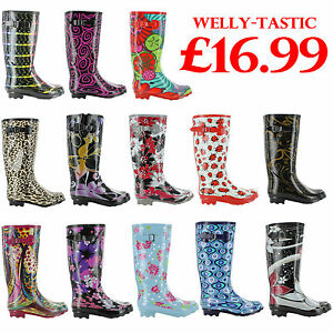 New-Ladies-Rain-Snow-Festival-Waterproof-Wellington-Wellies-Sizes-UK-3-4-5-6-7-8