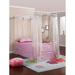 White Twin Bed Canopy Princess Bed Twin Frame Wrought Iron Scroll - FAST SHIP