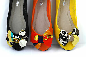 Black-Orange-Yellow-Ballerina-Flat-Pumps-UK-3-4-5-6-7-7-5