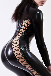 Latex-Rubber-Catsuit-Overall-Whole-Body-with-schnrung-Lace-Up