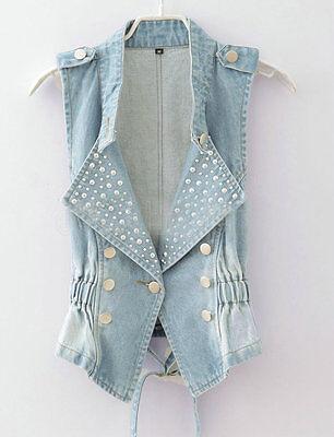 New Fashion Women Hot Beads Denim Vest Ladies Jean Waistcoat Outerwear Jean Vest