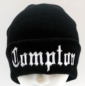 NEW-Black-Compton-Beanie-Ski-Cap-Hat-Long-Cuffed