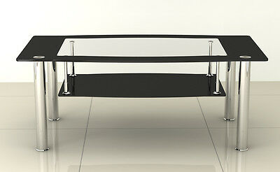 New Contemporary Black & Clear Glass Coffee Table with Stainless Steel Legs