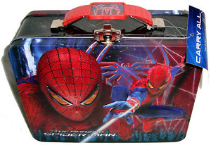 Amazing-Spiderman-Lunch-Box-Tin-With-Tags-Unused-Marvel-Comics-Movie-Carry-All