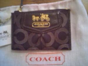 Coach-Madison-Dotted-Jacquard-Mini-Skinny-Brass-Mahogany-Wallet-44439-NWT