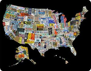 License Plate Art Map Of The US X Metal Sign EBay - Us liscense plate map