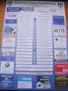03112001 Colour Teamsheet Colchester United v Bourne - Birmingham, United Kingdom - 03112001 Colour Teamsheet Colchester United v Bourne - Birmingham, United Kingdom