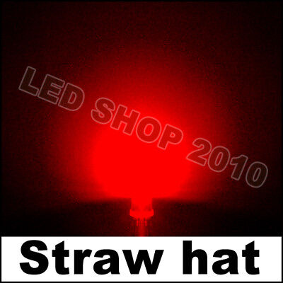 100 pcs 5mm 2pin Straw hat Red LED Wide Angle Light lamp