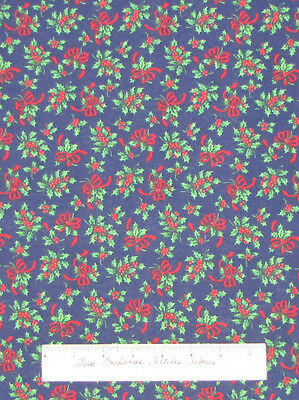 Christmas Holiday Holly Berry Ribbon on Dark Blue - Quilt Fabric Cotton YARD