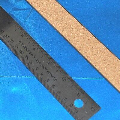 "Glass Cutting 12"" Stainless Steel RULER No Slip CORK BACK -straight edge scoring"