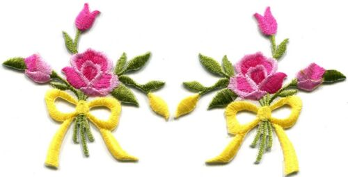 Pink roses pair flowers floral bouquet retro boho applique iron-on patch S-543