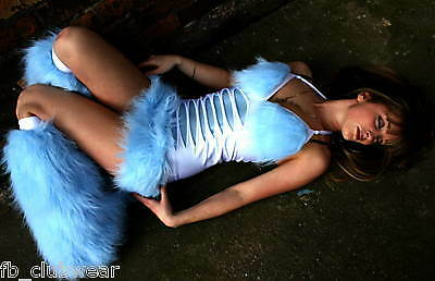FB OOlala UV rave outfits cyber fluffy bootcovers Blue