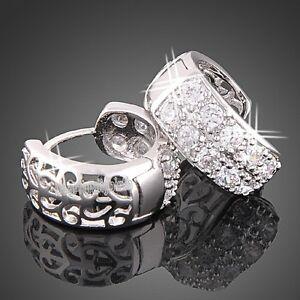 18k-white-gold-GP-SWAROVSKI-crystal-hoop-huggie-little-earrings-E485