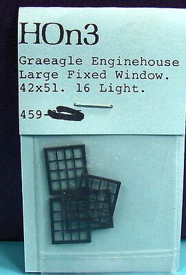 "HO/HOn3 RUSS SIMPSON #459 GRAEAGLE ENGINEHOUSE 42"" X 51"" LARGE FIXED WINDOWS"
