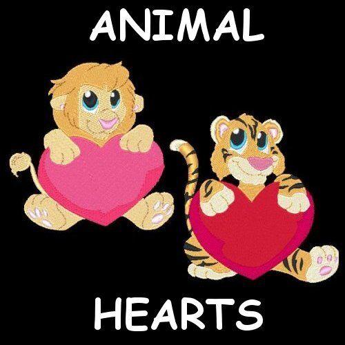 ANIMAL HEARTS - 30 MACHINE EMBROIDERY DESIGNS (AZEB)