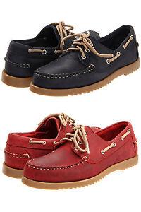 Allen-Edmonds-Mens-Harbour-Blue-or-Red-Casual-Lace-up-Oxfords-Boat-Shoes