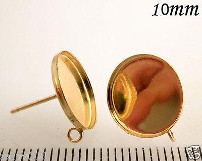 6 Pcs x 14k Gold filled Earring 10mm bezel cups w/ring  Backs included (61110GF)